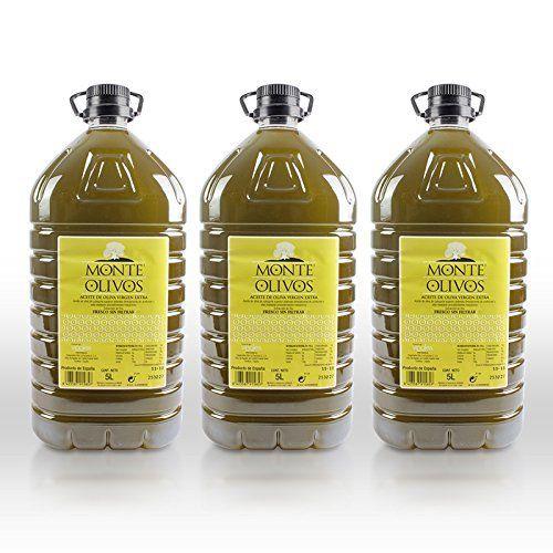 Monte Olivos - Aceite de Oliva Virgen Extra - sin filtrar - 3 garrafas de 5 litros - Fresco Campaña 2019