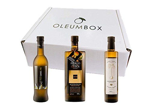 Oleumbox Aceite de Oliva Virgen Extra Estuche Regalo Pack Selección Premium (Arbequina, Picual y Coupage de Picual, Picuda, Hojiblanca) 3 Botellas 500 mililitros