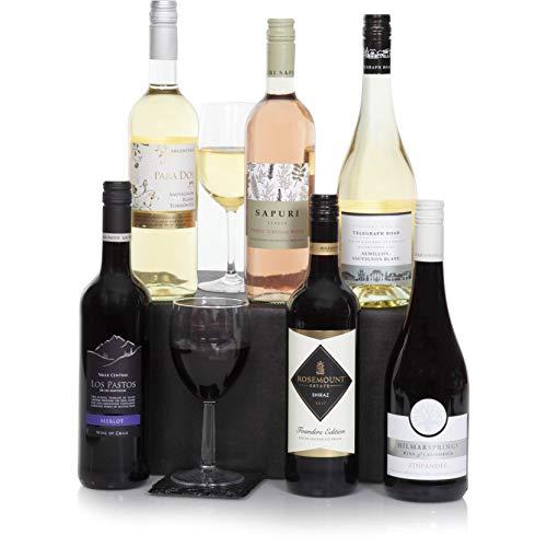Seis botellas de vino selecto - Conjunto de vinos incluyendo vino tinto, blanco y rosado de primera - Cesta de vinos